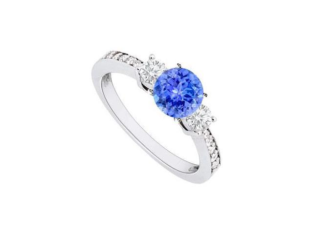 December Birthstone Created Tanzanite and CZ Engagement Rings 14kt White Gold 1.00.ct.tgw