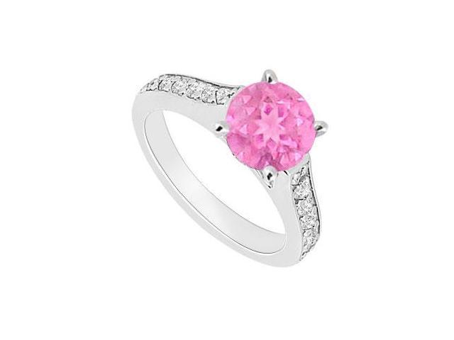 September Birthstone Created Pink Sapphire  CZ Engagement Ring 14kt White Gold 0.80.ct.tgw