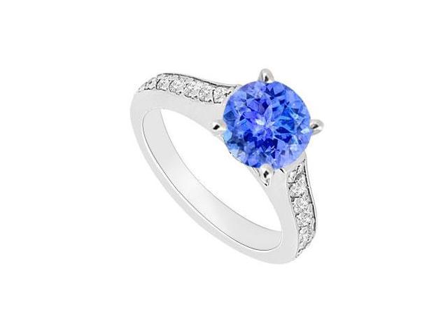 December Birthstone Created Tanzanite  CZ Engagement Ring 14kt White Gold 0.80.ct.tgw