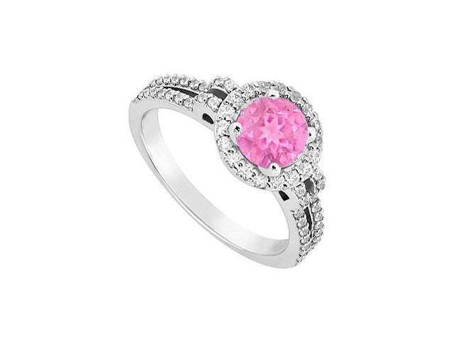 September Birthstone Created Pink Sapphire  CZ Halo Engagement Rings 14kt White Gold 1.00ct.tgw