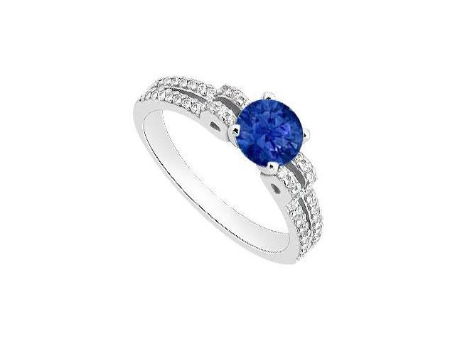 Engagement Ring in 14K White Gold 1 Carat Diamond and Natural Blue Sapphire Ring