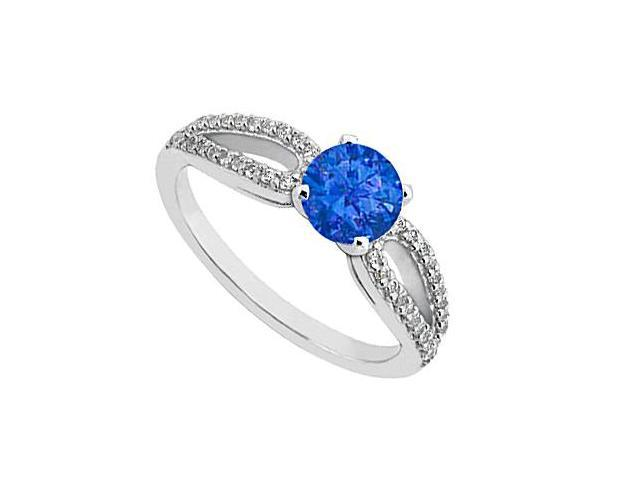Natural Blue Sapphire Engagement Ring Diamond in White Gold 14K Total Gem Weight of 0.75 Carat