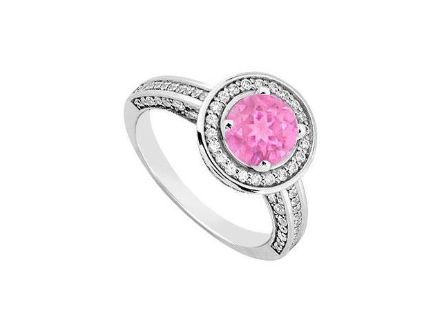 September Birthstone Created Pink Sapphire  CZ Halo Engagement Rings 14kt White Gold 1.30ct.tgw