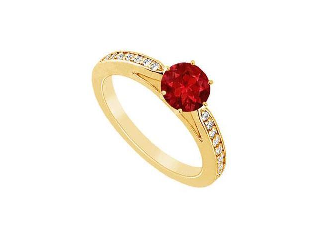 Ruby and Diamond Ring  14K Yellow Gold - 1.25 CT TGW