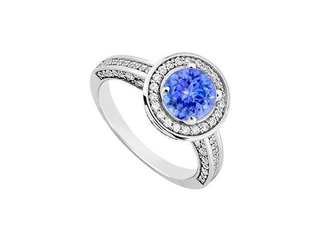December Birthstone Created Tanzanite  CZ Halo Engagement Rings 14kt White Gold 1.30ct.tgw