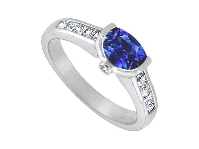 Blue Sapphire and Diamond Engagement Ring  14K White Gold  1.50 CT TGW