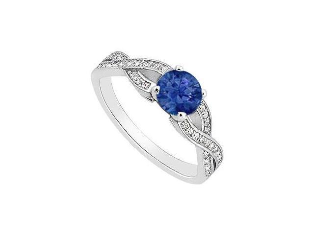 Created Sapphire Engagement Rings with Cubic Zirconia 14K White Gold 1.00.ct.TGW