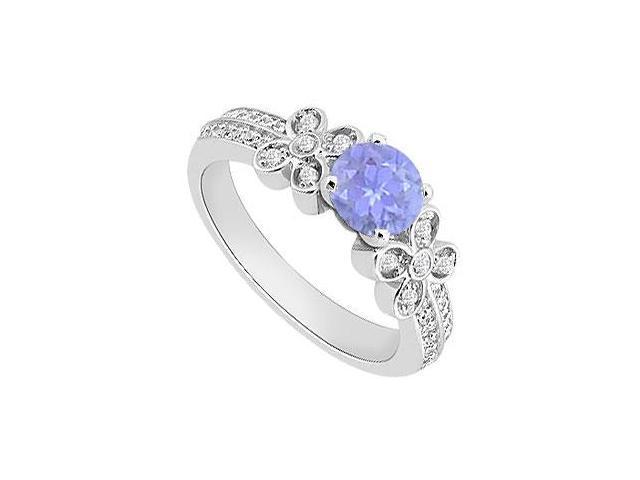 1 Carat Diamond and Tanzanite Engagement Ring in 14K White Gold