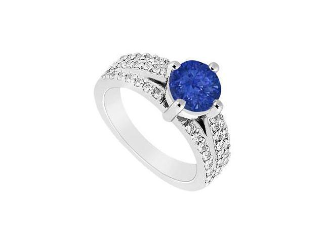 September Birthstone Created Sapphire  CZ Engagement Ring with Basket 4 Prong Setting