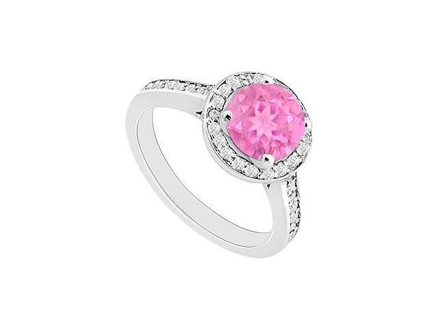 September Birthstone Created Pink Sapphire  CZ Halo Engagement Rings 14kt White Gold 0.80ct.tgw