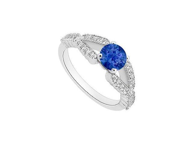 September Birthstone Created Sapphire and CZ Engagement Rings in 14kt White Gold 1.00.ct.tgw