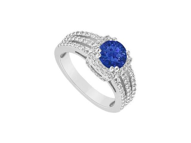 September birthstone Created Sapphire Three Row Halo Engagement Ring with Split Prong 14K White