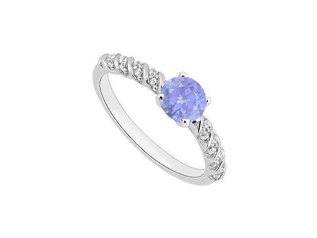 14K White Gold Tanzanite and Diamond Engagement Ring 0.90 Carat Total Gem Weight