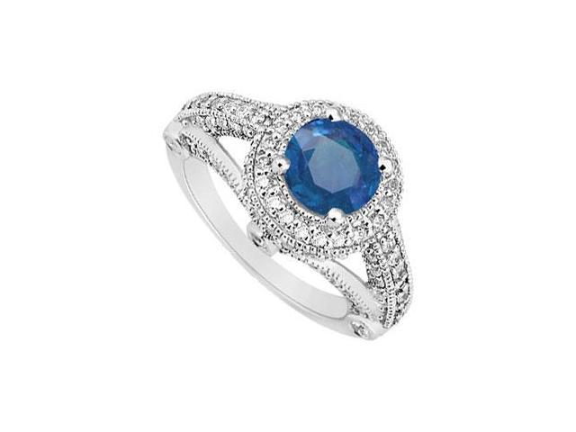 Split Shank September Birthstone Created Sapphire and CZ Halo Engagement Ring 14K White Gold