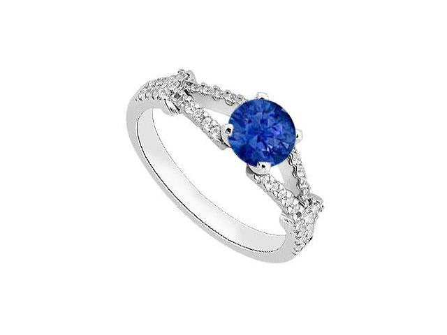 Blue Sapphire and Diamond Engagement Ring in White Gold 14K Total Gem Weight of 1.10 Carat