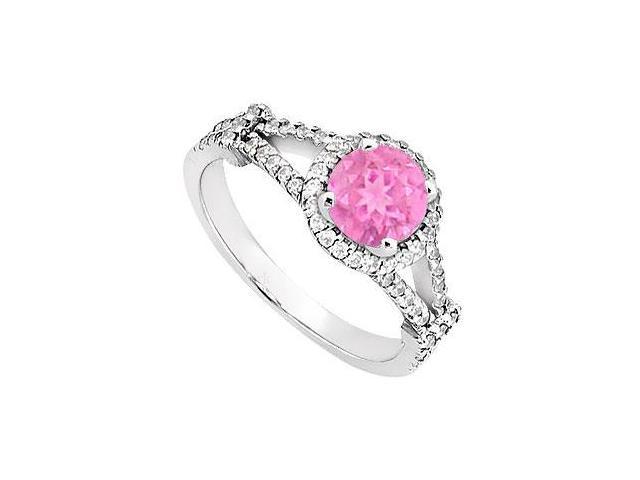 Created Pink Sapphire  CZ  Split Shank Halo Engagement Rings 14K White Gold 1.ct.tgw