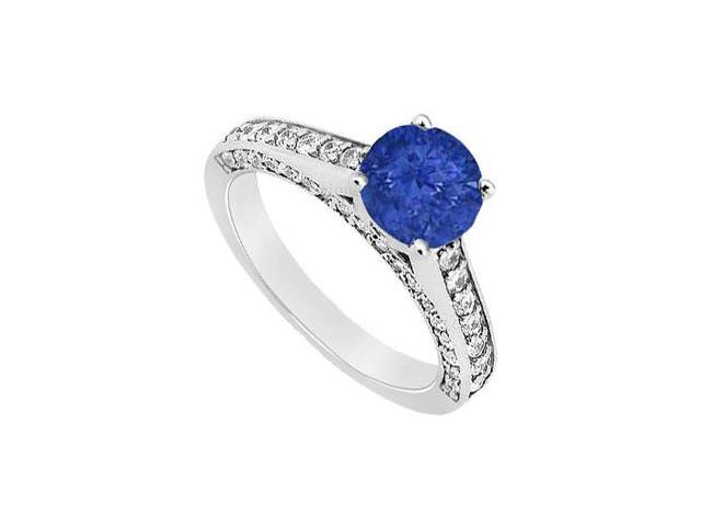 September Birthstone Created Sapphire and CZ Engagement Ring in 14K White Gold 1.25.ct.tgw