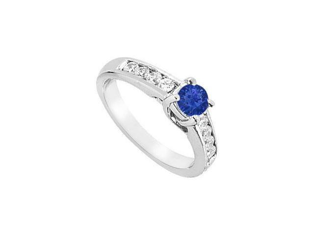 Sapphire and Diamond Engagement Ring  14K White Gold - 1.00 CT TGW