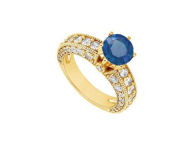 Sapphire and Diamond Engagement Ring  14K Yellow Gold - 2.00 CT TGW