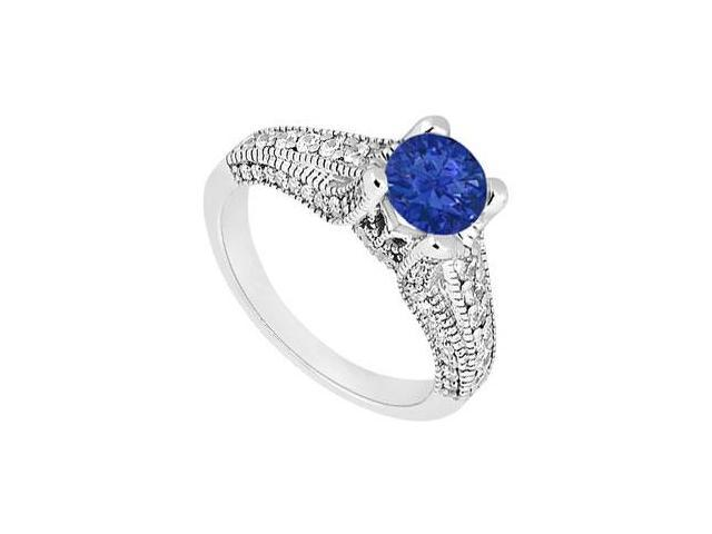 September Birthstone Created Sapphire Engagement Ring with Milgrain in 14K White Gold 1.00 ct TW