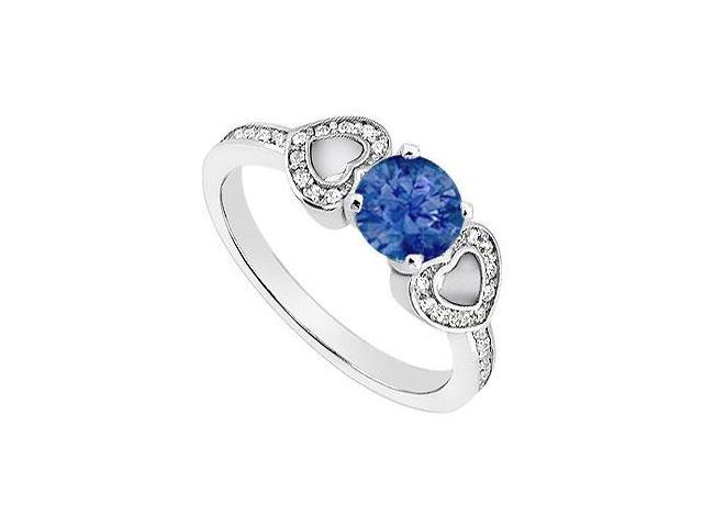Created Sapphire Heart Shaped Engagement Rings with CZ in 14K White Gold 1.00.ct.TGW