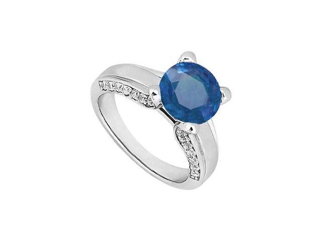 September Birthstone Created Sapphire and CZ Engagement Ring in 14K White Gold 1.00.ct.tgw