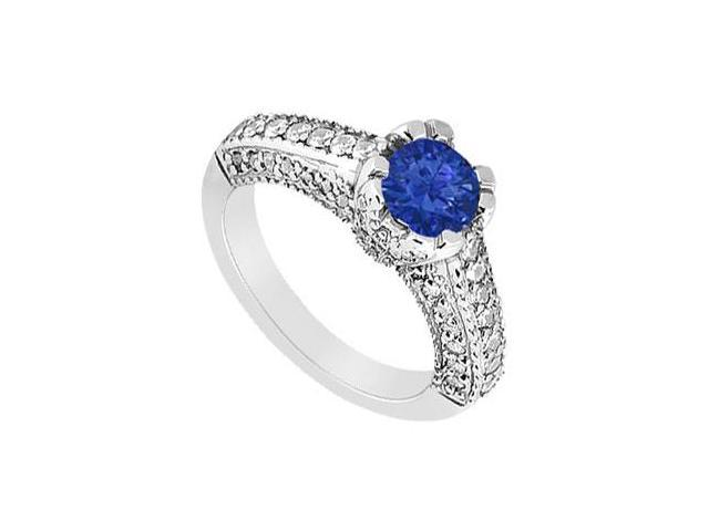 September Birthstone Created Sapphire Engagement Ring with Split Prong  Milgrain 14K White Gold