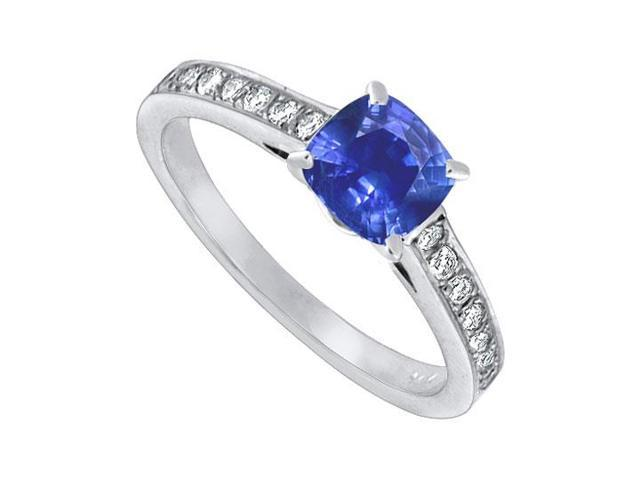 Blue Sapphire and Diamond Engagement Ring  14K White Gold  1.25 CT TGW