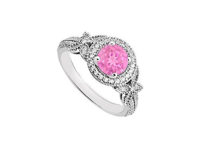 Created Pink Sapphire and Cubic Zirconia Halo Engagement Rings in 14K White Gold 0.80.ct.tgw