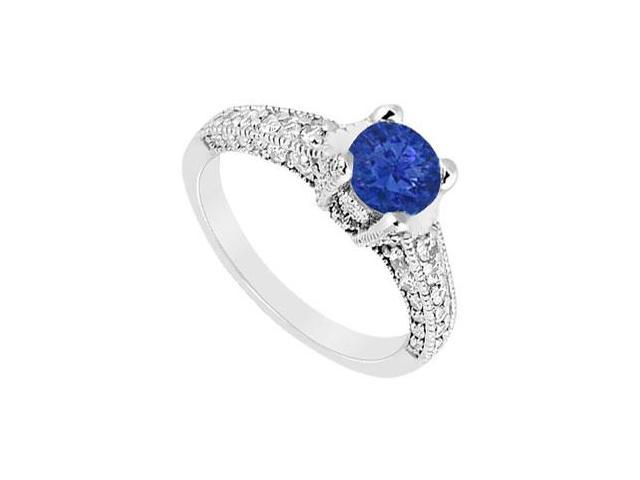 September Birthstone Created Sapphire Milgrain Engagement Ring in 14kt White Gold 1.25 ct TGW