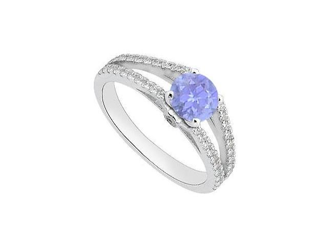 Diamond and Tanzanite Engagement Ring in White Gold 14K 1.05 Carat Total Gem Weight