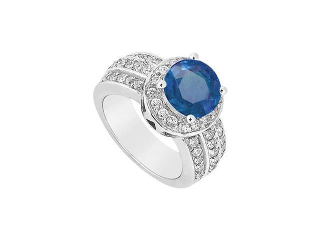 September Birthstone Created Sapphire Halo Ring with Three Row CZ in 14K White Gold 1.00.ct TGW