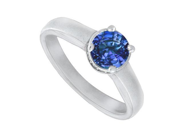 Blue Sapphire and Diamond Engagement Ring  14K white Gold  1.15 CT TGW