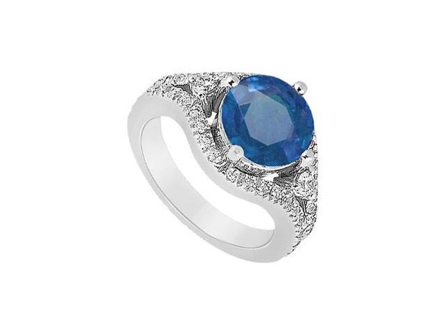 September Birthstone Created Sapphire and CZ Split Shank Engagement Ring in 14K White Gold