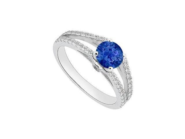 Blue Sapphire and Diamond Engagement Ring in White Gold 14K Total Gem Weight of 1.05 Carat