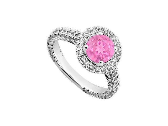 Created Pink Sapphire and Cubic Zirconia Halo Engagement Rings in 14K White Gold 0.85.ct.tgw