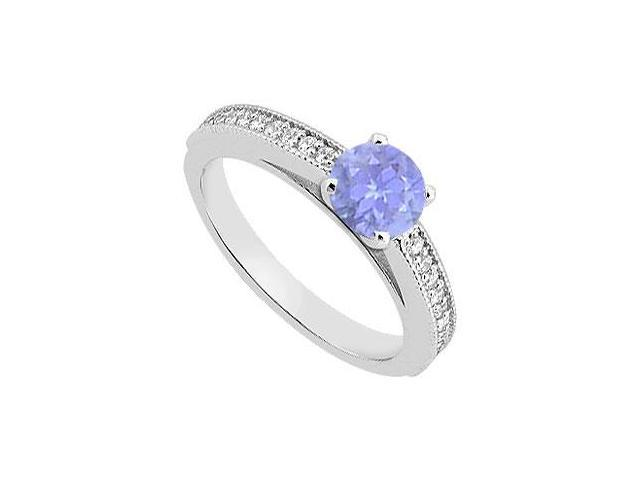 Diamond and Tanzanite Engagement Ring in 14K White Gold 0.95 Carat Total Gem Weight