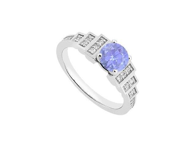 Tanzanite and Diamond Engagement Rings in 14K White Gold Total gem Wieght of 0.90 Carat