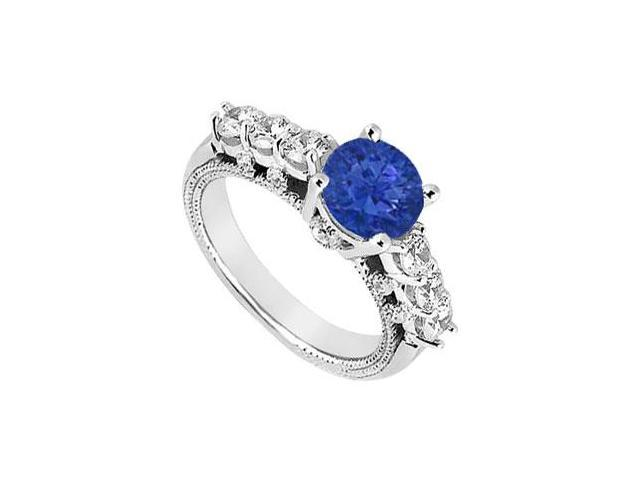 Four Prong Set September Birthstone Created Sapphire and CZ Engagement Ring in 14K White Gold