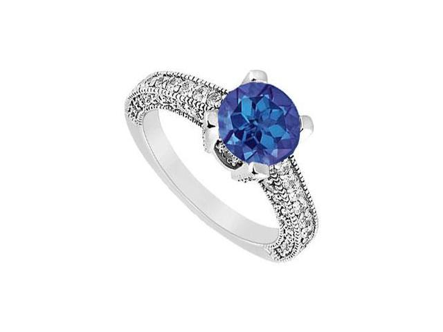 September Birthstone Created Sapphire and CZ Milgrain Engagement Ring in 14K White Gold 1.25.ct.