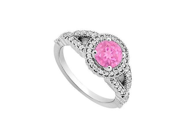 September Birthstone Created Pink Sapphire  CZ Halo Engagement Rings 14K White Gold 0.85.ct.tgw