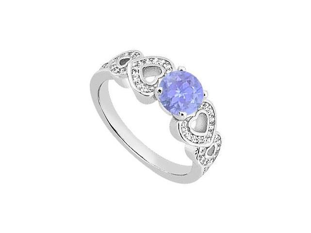Heart Engagement Ring of Diamond and Tanzanite in 14K white Gold of 0.90 Carat TGW