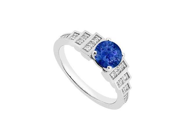 Diamond and Blue Sapphire Engagement Ring with 0.90 Carat TGW in 14K white Gold