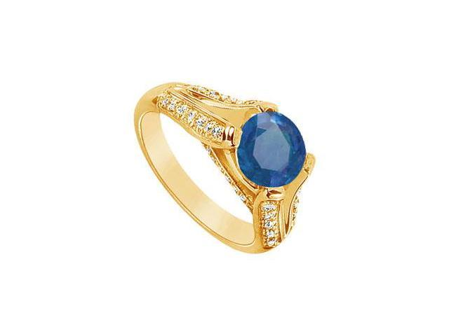 Sapphire and Diamond Engagement Ring  14K Yellow Gold - 2.50 CT TGW
