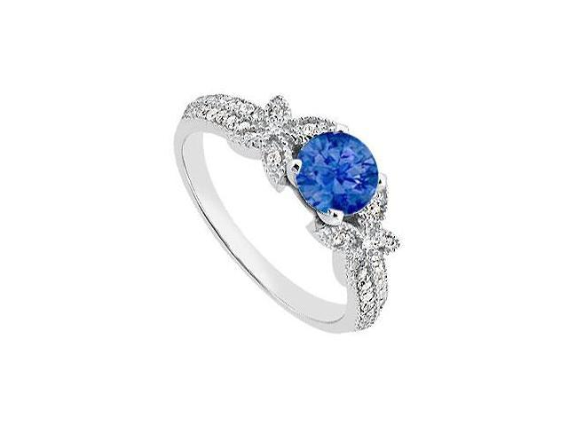 Blue Natural Sapphire and Diamond Engagement Rings in 14K White Gold 0.95 Carat TGW