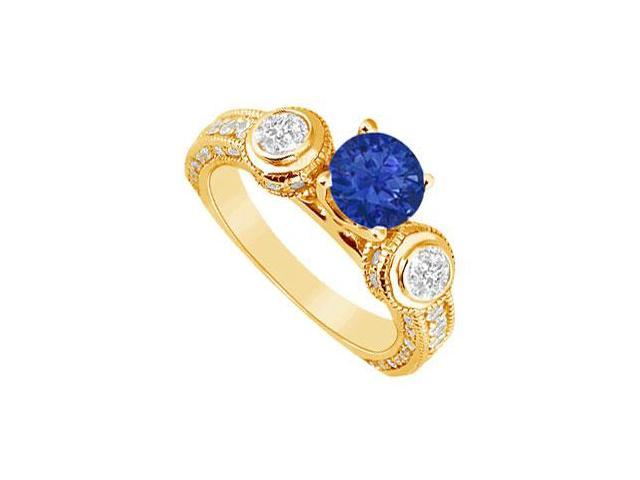 Sapphire and Diamond Engagement Ring  14K Yellow Gold - 2.00 CT TGW