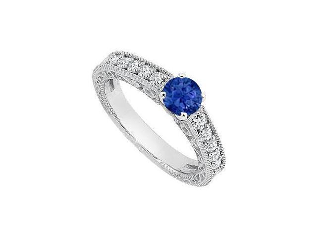 Created Sapphire Milgrain Engagement Rings with CZ in 14K White Gold 1 ct.TGW