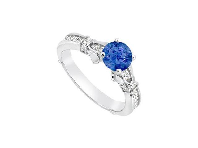 Natural Sapphire and Diamond Engagement Rings of 0.85 Carat TGW in 14K white Gold