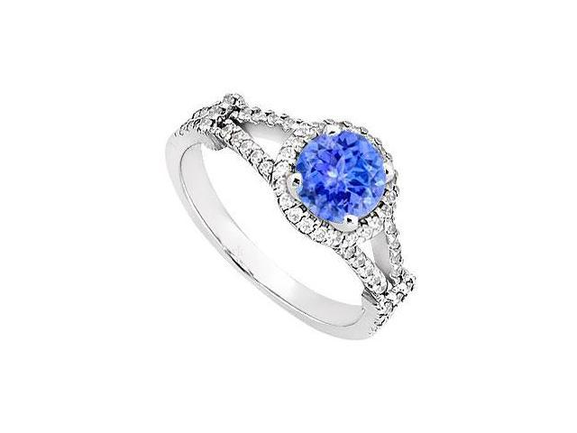 Created Tanzanite and CZ  Split Shank Halo Engagement Rings 14kt White Gold 1.ct.tgw