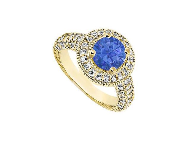 Created Sapphire Engagement Ring with CZ Milgrain Styling in 14K Yellow Gold 2.15.ct.TGW